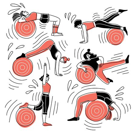 Pilates practice. Girls vector characters train on balls. The concept of healthy fitness.