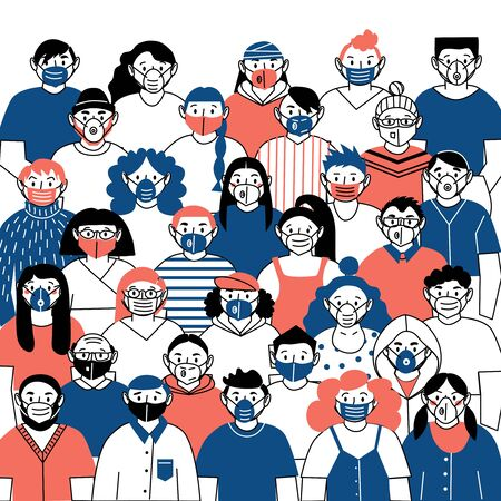 Vector image of people wearing medical masks protecting themselves from the virus. Flash of influenza. Vektorgrafik