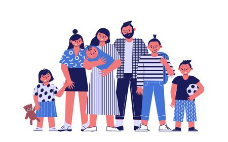 Happy big family with their five children. A portrait of a large family. Parents with a newborn baby and older children.