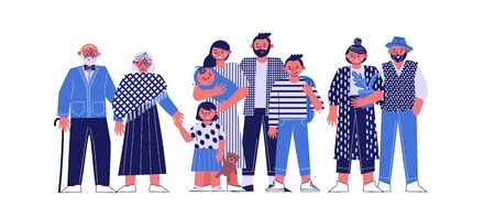 a multi-generational family together, young parents with children, grandparents and grandchildren on a white background, a large happy family, vector illustration of a flat
