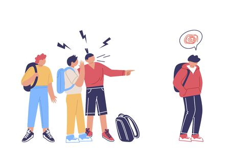 Teenage bullying. A group of negative people suppress sad, weeping children. The concept of discrimination and intimidation of the weak and victims of violence. Illustration