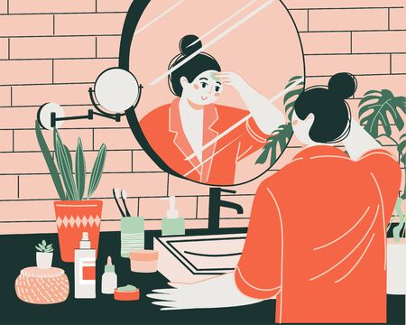 Self-care routines. A young cute girl in front of a mirror in the bathroom cleanses and moisturizes her skin. Daily personal care, daily skin care, hygienic procedure. Flat cartoon vector illustration. Vectores