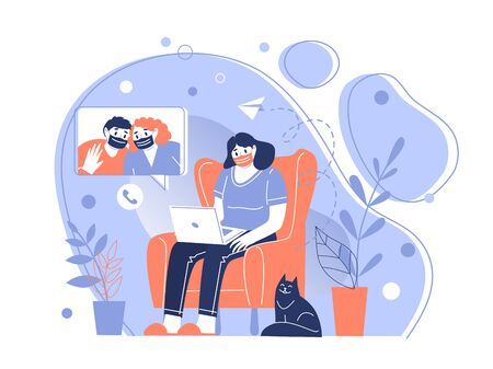 The character of the girl in a protective medical mask communicates remotely over the network. Stay home during the coronavirus pandemic. Home quarantine. Vector illustration.