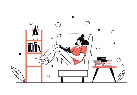 Woman at home, lying on the chair, reading books. Home library. The concept of reading paper literature. Young adult woman having a rest with good book. Girl enjoying himself at home. Vector illustration