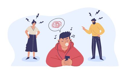 Conflict with parents, father and mother scolding a teenage boy. A teenage boy ignores his parents. Children's misunderstanding with their families. Vector characters. Vetores