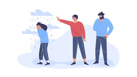Conflict with parents, father and mother scolding a teenage girl. Adolescent girl under stress, depression. Childrens misunderstanding with their families. Vector characters.