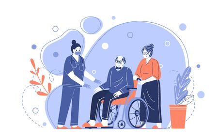 Medical care for the elderly. A nurse helps Grandpa in a wheelchair. Taking care of pensioners. Vector illustration in a flat style