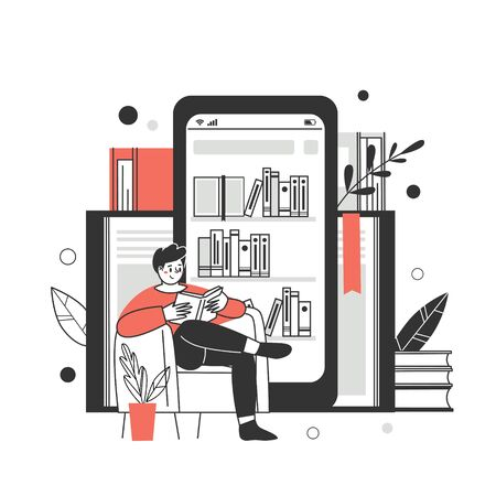 The concept of online library, bookstores. Applications for reading and downloading books, audiobooks. Vector illustration. Ilustração