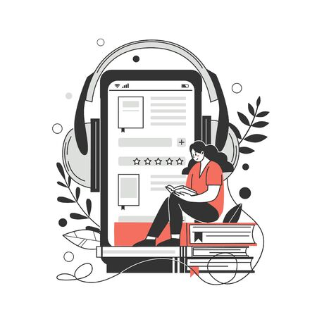 The concept of online library, bookstores. Applications for reading and downloading books, audiobooks. Vector illustration. Vecteurs