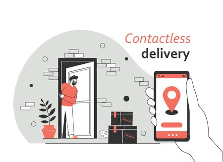 Contactless delivery concept illustration. Order contactless delivery via application, smartphone, website. Protection form covid-19 or coronavirus. Flat vector illustration.