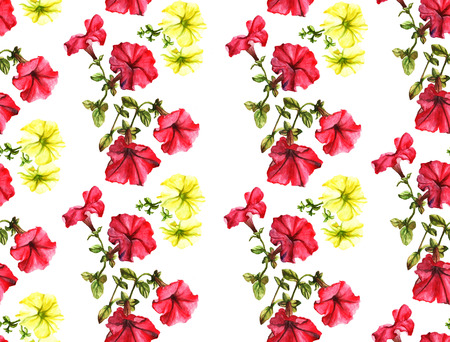 petunia: Seamless watercolor petunia pattern. Pink and yellow flowers