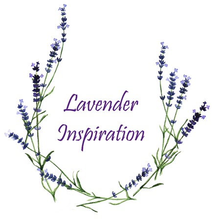 Watercolor decorative elements - wreath with lavender Vector