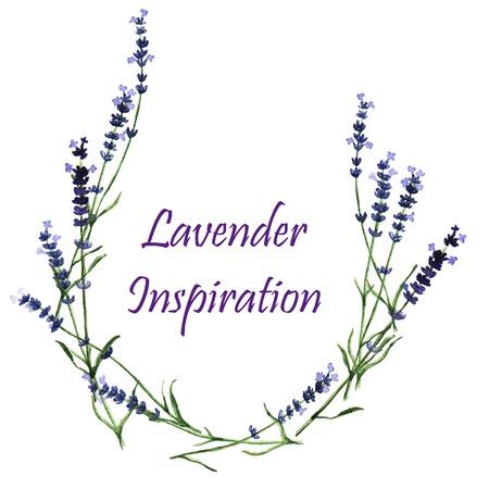 Watercolor decorative elements - wreath with lavender