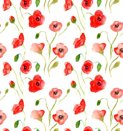 Hand drawn watercolor seamless pattern with red poppies Illustration