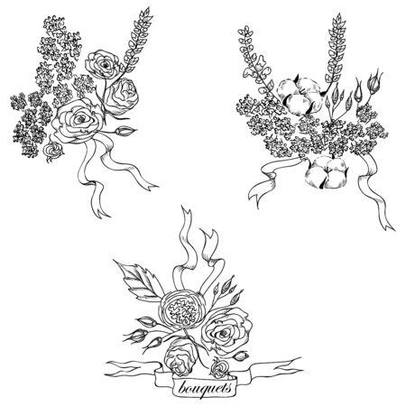 compositions: Composizioni floreali disegnati a mano Vettoriali