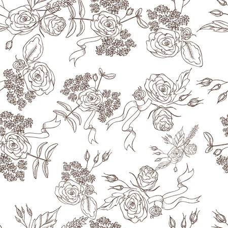 Hand drawn vector seamless  monochrome floral pattern with different line art flowers and ribbons. Vector