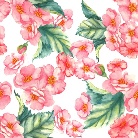 Beautiful watercolor seamless  pattern with tender pink brier flowers and leaves on the white background Ilustrace