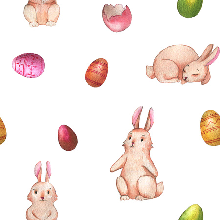 Hand-drawn watercolor seamless pattern with cute little Easter bunnies on the white background. Repeated print with rabbits and colored eggs