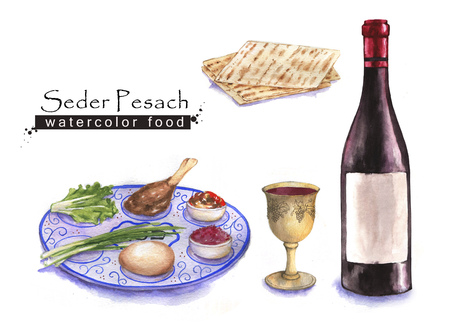 Hand drawn watercolor set of holiday Jewish food. Seder Pesach plate, matzah and wine. Passover meal.