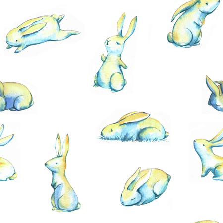 Hand-drawn watercolor seamless pattern with cute little Easter bunnies on the white background. Repeated print with rabbits 写真素材