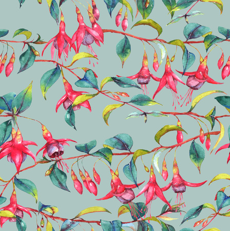 Hand-drawn watercolor seamless floral pattern with colorful vibrant pink fuchsia branches. Tropical exotic flowers blossom on the blue background. Repeated print for the textile, wallpapers etc.