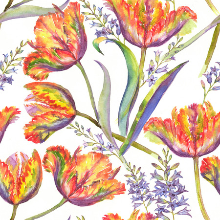 Hand-drawn watercolor summer floral seamless pattern with vibrant colorful tulips and hyacinth. Fresh bright flowers in the beautiful repeated print for the textile, wallpapers, wrapping paper. Stock Photo