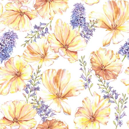 senza motivo floreale estate dell'acquerello con tulipani gialli e Giacinto. fiori luminosi freschi nella bella stampa ripetuto per tessile, carte da parati, carta da imballaggio. Archivio Fotografico