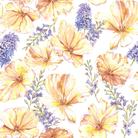 Watercolor summer floral seamless pattern with yellow tulips and hyacinth. Fresh bright flowers in the beautiful repeated print for the textile, wallpapers, wrapping paper.