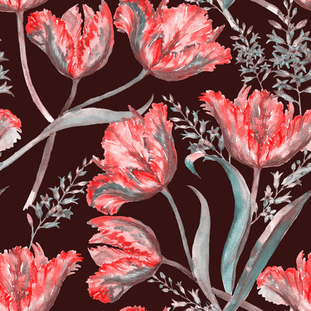 Hand-drawn watercolor summer floral seamless pattern with vibrant red tulips and hyacinth. Stock Photo