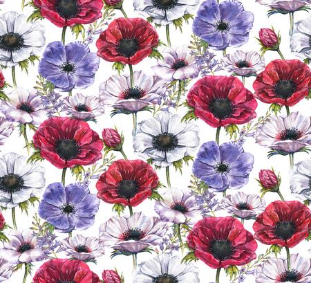 Handgetekende aquarel naadloze bloemmotief met prachtige anemonen en hyacint bloemen. Herhaalde print met bloesem voor het inpakpapier, textiel en behang. Stockfoto