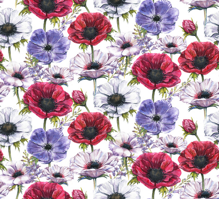 Hand-drawn watercolor seamless floral pattern with beautiful anemones and hyacinth flowers. Repeated print with blossom for the wrapping paper, textile and wallpapers.