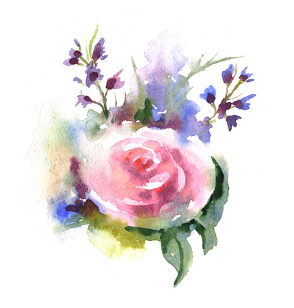 Beautiful and tender, romantic watercolor illustration of roses bouquet. Floral hand-drawn composition with pink rose and different flowers