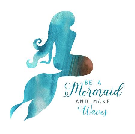 手描きの水彩画美人魚キャラクターイラスト。ポスター、カード、招待状のための海のテンプレート。マーメイドシルエット