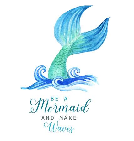 Schöne Meerjungfrau-Charakterillustration des von Hand gezeichneten Aquarells. Seeschablone für Plakat, Karte, Einladung.