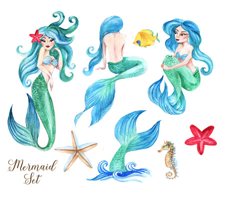 Hand-drawn watercolor beautiful set of mermaids illustration. Underwater collection of fairy tale characters. Isolated sea drawings