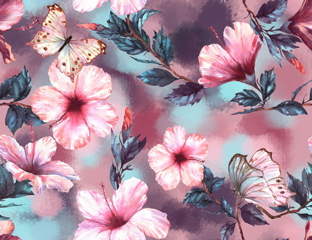 Hand-drawn  watercolor floral seamless pattern with the tender white and pink hibiscus flowers and butterflies. Natural tropical and vibrant repeated print for textile, wallpaper etc