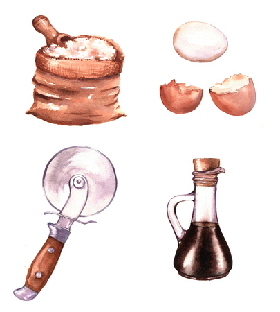 Hand-drawn watercolor illustration of different products: fresh eggs, flour,  balsamic vinegar and pizza cutter. Isolated food drawings Archivio Fotografico - 96642286
