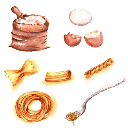 Hand-drawn watercolor illustration of different products: fresh eggs, flour, different kinds of spaghetti. Isolated food drawings