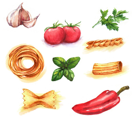Hand-drawn watercolor illustration of different products: fresh tomatoes, garlic,  pepper, basil, parsley, different kinds of spaghetti. Isolated food drawings