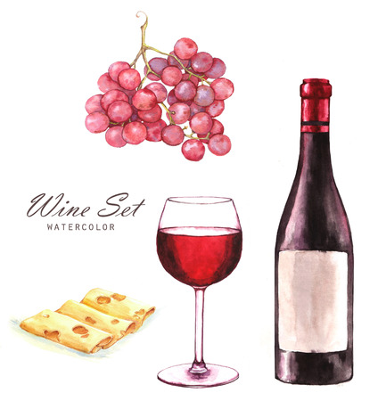Hand-drawn watercolor illustration of the wine bottle, grape, sliced cheese and one glass of red wine.  Drawing isolated on the white background. Wine set. Stock Photo