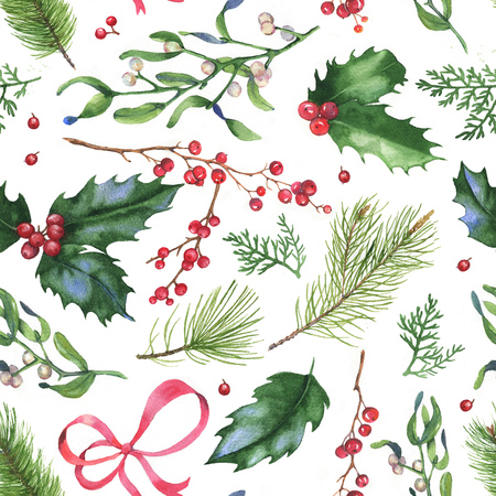 Hand-drawn watercolor seamless holiday pattern with different leaves and berries. Repeated vintage background. Christmas decorative leaves, holly and berries.