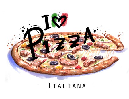 Hand-drawn watercolor illustration of the pizza.