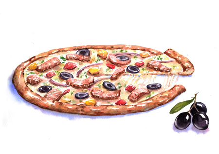 Hand-drawn watercolor illustration of the pizza with the meat and olives. Drawing of the fast Italian food isolated on the white background.