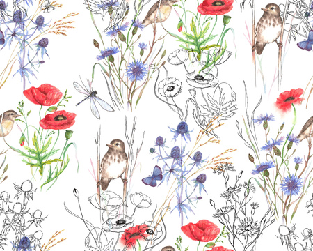 Hand-drawn watercolor floral seamless pattern. Summer meadow flowers - poppy, cornflowers, grass, feverweed, butterflies and birds on the white background, Repeated pattern for textile, wallpaper. Standard-Bild