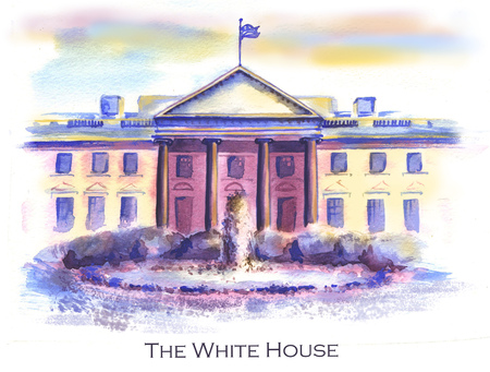 Hand-drawn watercolor drawing of the American landscape and famous building. Illustration of the White House in the USA Stock Photo