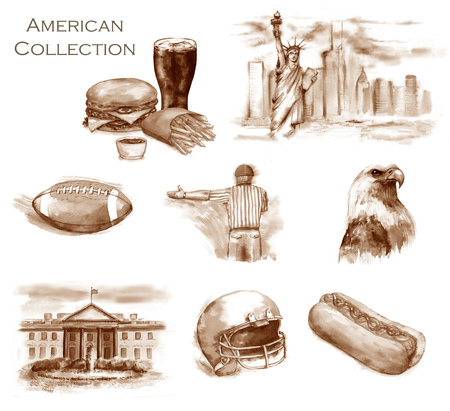 Hand-drawn watercolor American Collection. Set of  USA illustrations: American football, ball, referee, helmet, fast food - burger and hot dog, Statue of Liberty and White House, and the eagle Banque d'images