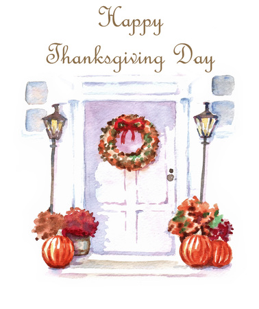 Template for Thanksgiving Day greeting card. Hand-drawn illustration of decorated door with autumn wreath and pumpkins. Stock Photo