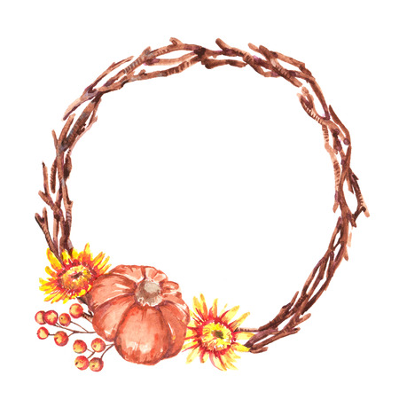 Hand-drawn watercolor illustration of the beautiful autumn wreath with little pumpkin, different colorful flowers chrysanthemums. Isolated on the white background