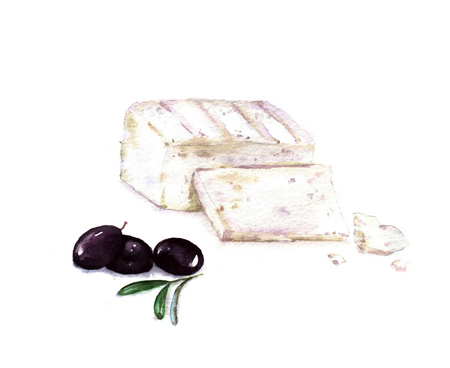 Hand drawn watercolor illustration of Feta cheese sliced with black olives isolated on the white background