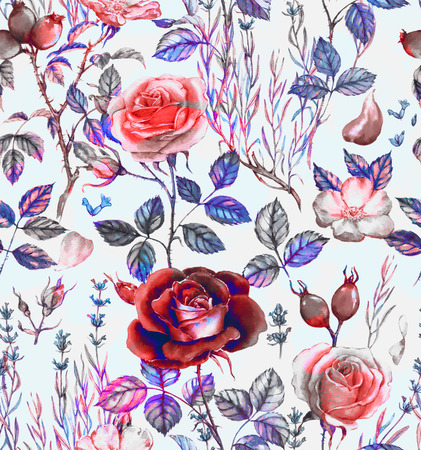 Hand-drawn watercolor seamless botanical pattern with different plants. Repeated natural background: lavender, rose, dog rose 写真素材